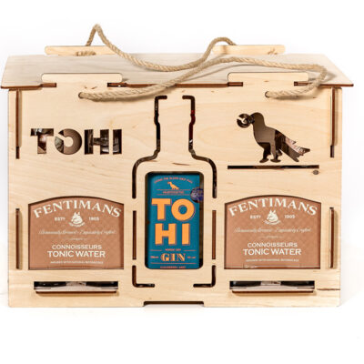 TOHI gift set with gin and 12 Fentimans tonics, gin glass