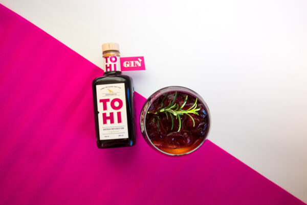 Tohi Aronia Infused Gin and aronia gin tonic cocktail