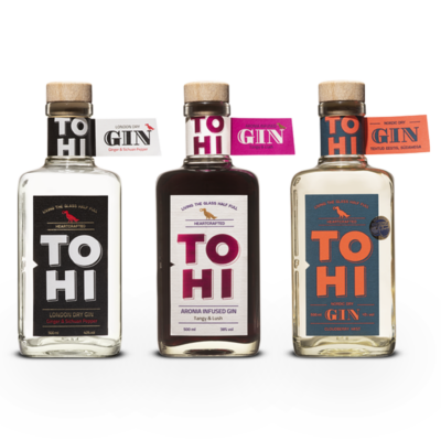 3 Tohi Gin bottles. London Dry Gin, Aronia GIn and the Cloudberry Gin